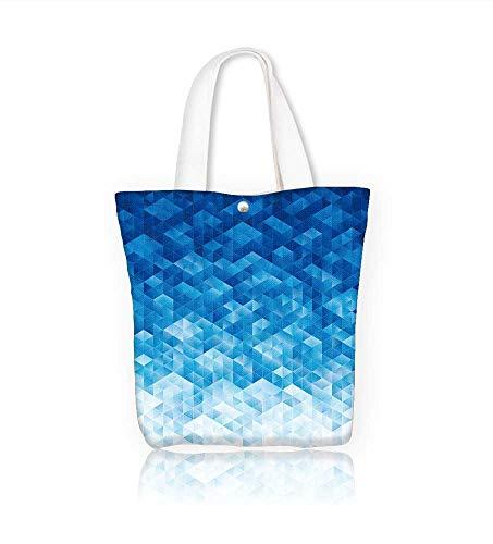 Canvas Tote BagAbstract geometric blue texture Hanbag Women Shoulder Bag Fashion Tote Ba W22xH15.7xD7 INCH