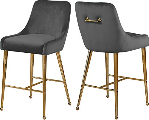 Meridian Furniture 745Grey Owen Collection Modern | Contemporary Grey Velvet Upholstered Counter Stool with Polished Gold Metal Legs, 23
