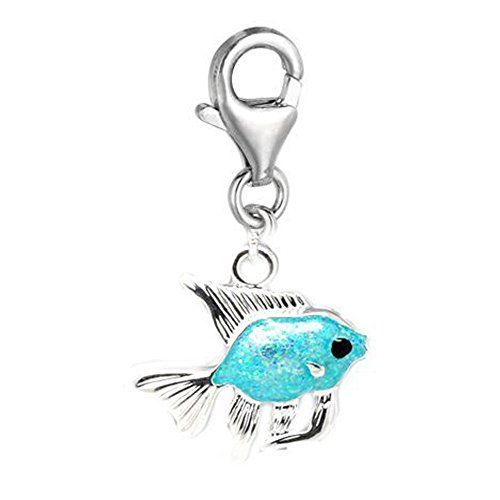 SEXY SPARKLES Clip on Silver Tone Turquoise Fish Charm Pendant for European Clip on Charm Jewelry with Lobster Clasp