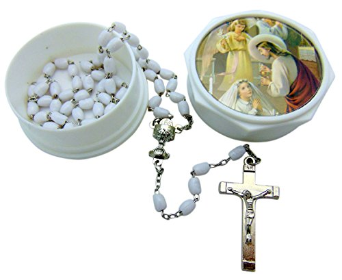 SFI Co. Girls First Communion Rosary Set with Gift Case Box (Rosary Case First)