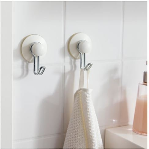 IKEA IMMELN hooks, super powerful vacuum suction cup holder hook - sturdy hooks bathroom and kitchen galvanized 2 PACK ()