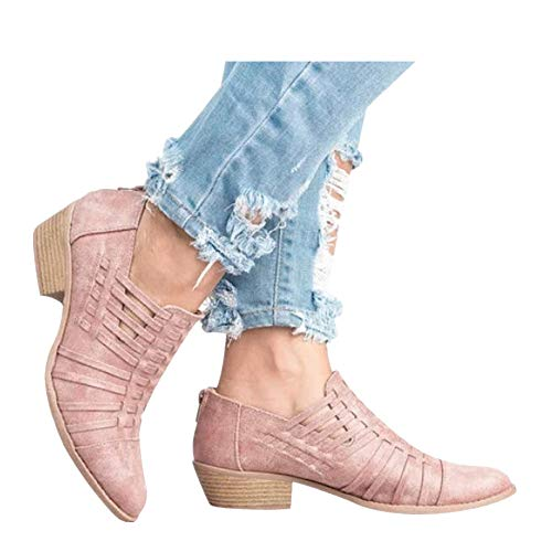 Women's Ultra Comfortable and Soft Lining Slip on Low Heel Closed Pointed Toe Boot (Pink -6, US:9.0)