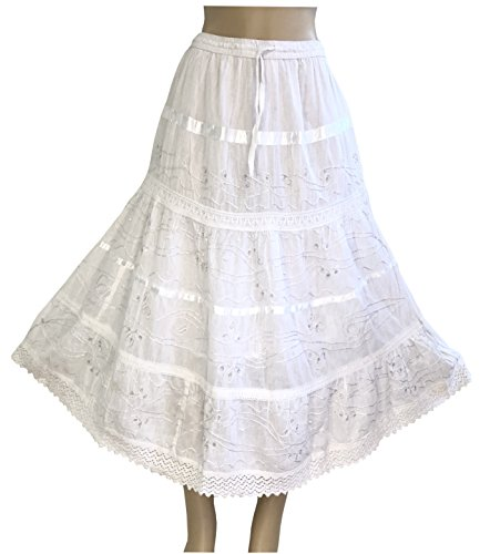Nu Deals Embroidered & Embellished Peasant Sweep Skirts with Hippie Boho Lace Trim ()
