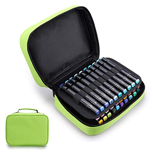 BTSKY Double-Ended Art Marker Carrying Case Lipstick Organizer-40 Slots Canvas Zippered Markers Storage for Copic Prismacolor Touch Spectrum Noir Paint Sharpie Markers, Empty Wallet Only -