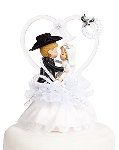 Western Cowboy Lasso Wedding Cake Topper: Boot Color: Silver - Skirt Color: (Lasso Cake)