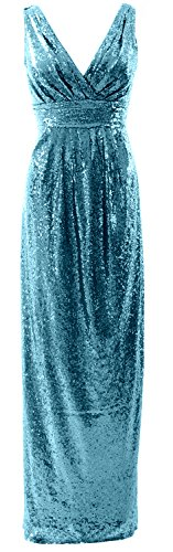 MACloth Gorgeous Long Bridesmaid Dress V Neck Sequin Wedding Party Formal Gown Turquoise jiQGdQkUK4