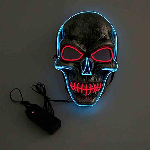 Fashionwu Unisex Skull Design Mask EL Light Mask for Halloween Festival Cosplay Party -