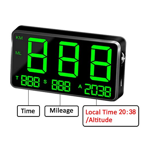 KingNeed Original Universal GPS Head Up Display Speedometer Odometer Car Digital Speed Display MPH Over Speeding Alarm Car Clock for All Vehicles C60/C60S/C80/C90 (C80-1) - Car C60