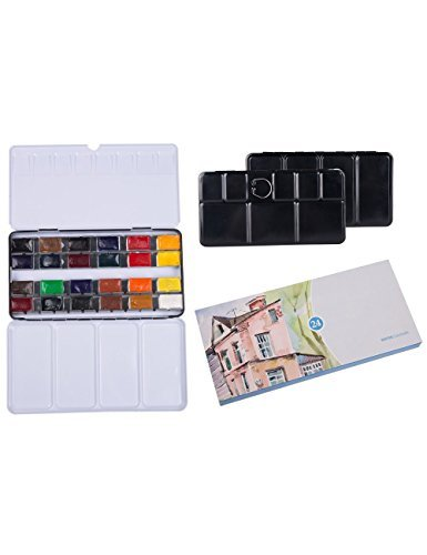 MEEDEN Watercolor Field Sketch Paint Set - White Nights Sonnet 24 Full Pan Colors with Watercolor Tin