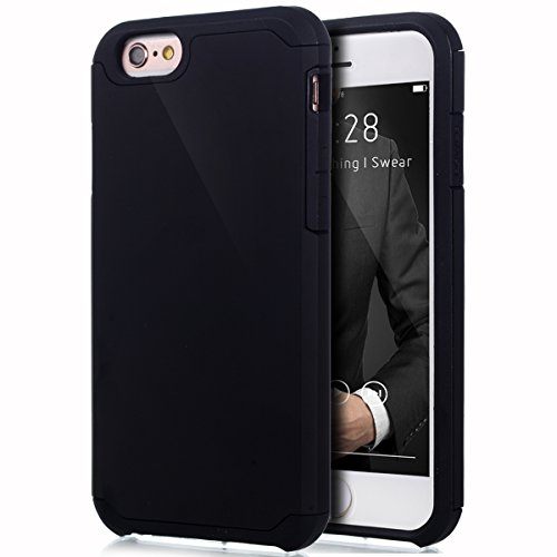 "Price comparison product image iPhone 6S Case, iPhone 6 Case, ikasus Hybrid Heavy Duty Shockproof Full-body Dirtproof Soft Silicone & Hard PC Dual Layer Non-slip Grip Protection Bumper Case Cover for Apple iPhone 6S / 6 4.7"" - Black"
