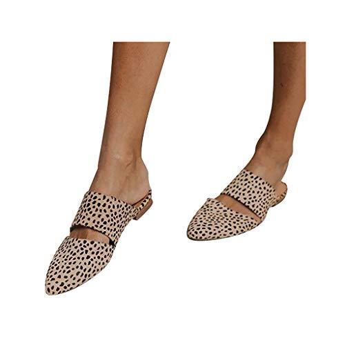 Women's Slip On Mule Slippers Comfort Flat Backless Pointed Toe Pump Walking Shoe Loafers Low Heel Dress Sandals Beige
