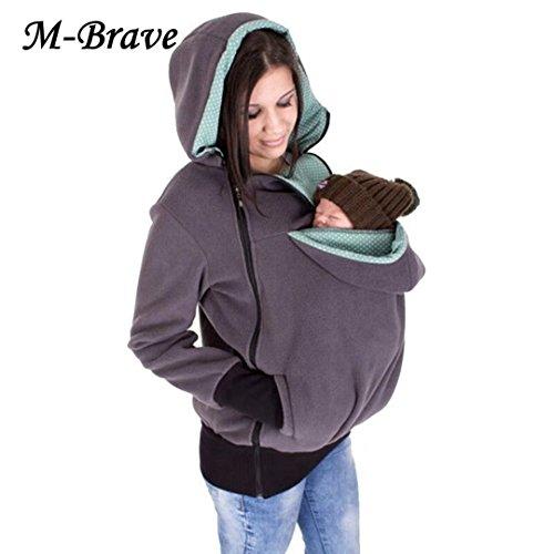 Women Kangaroo Fleece Zip Up Maternity Pullover Sweatshirt Hoodie Jacket Dad and Baby Carrier Coat ( Gray L )