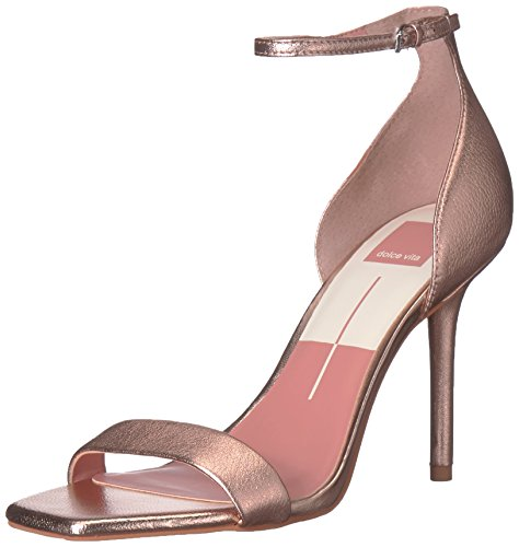 Dolce Vita Women's Halo Heeled Sandal, Rose Gold Leather, 6 Medium US