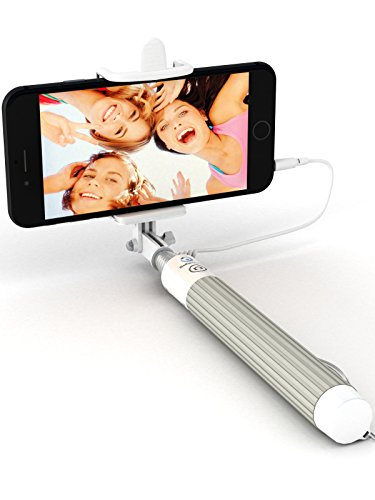 Premium 5-in-1 Wired Selfie Stick for iPhone 6, 5, Samsung Galaxy S9 S8 S7 S6 S5 - Takes Selfies in Seconds, Get Perfect HD Photos, Operates Flash - No Apps, No Downloads, No Batteries Required by Selfie World