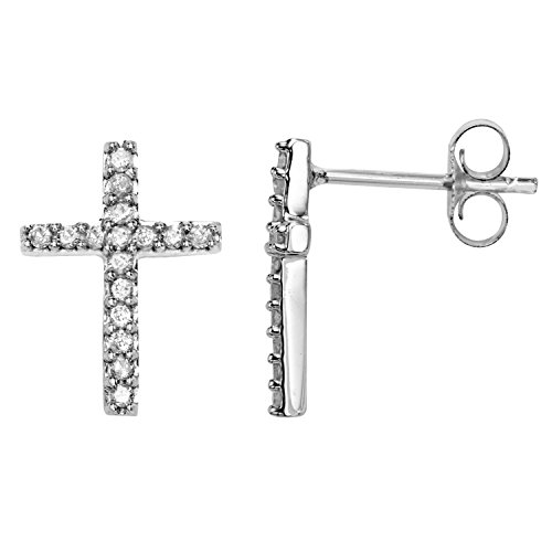 1/4 CT Cross Diamond Earrings in Sterling Silver ()