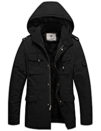WenVen Men's Military Style Hooded Sherpa Jacket