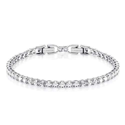 Swarovski Crystal Deluxe White Rhodium-Plated Tennis - Bracelets Round Swarovski