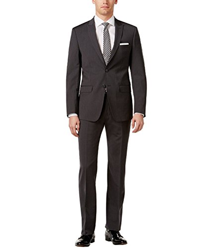 Calvin Klein Extra Slim Fit Charcoal Pinstripe Wool 2 Piece Men's Suit MAIL2 5FY