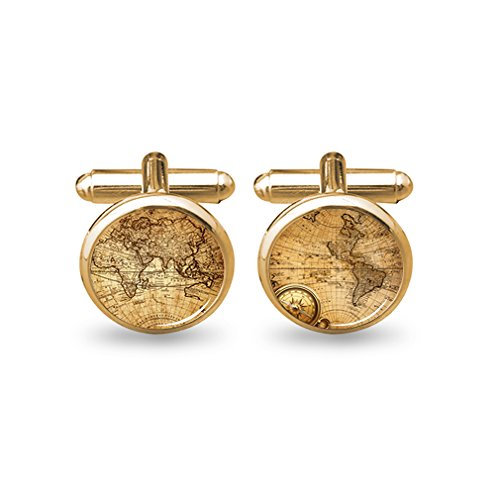 ZUNON World Map Cufflinks Wedding Personalised Gifts for Father Grandfather Dad Tie (World map Cufflinks Gold)