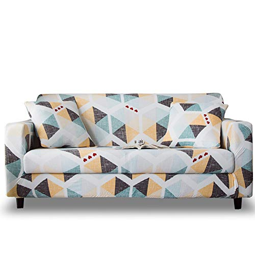 HOTNIU Stretch Sofa Cover 1-Piece Printed Couch Cover Sofa Slipcovers for Couches and Sofas Polyester Spandex Furniture Cover/Protector with Elastic Bottom & Anti-Slip Foam (Sofa, Pattern #XY)