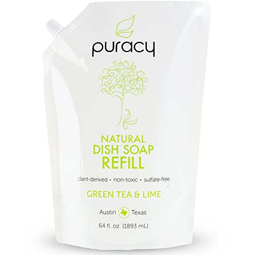 Puracy Natural Liquid Dish Soap Refill, [64 Oz], Sulfate-Free Dishwashing Detergent, Green Tea and Lime, 64 Fluid Ounce Pouch