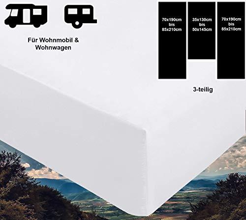 41keiz%2BfAKL Brandsseller - 3-teiligs Spannbettlaken Set für Wohnwagen und Wohnmobil Heckbett Spannbetttuch 180 g/m² 2X 70x190 cm…