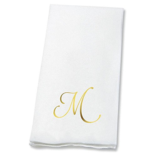 (Lillian Vernon Script Personalized Monogram Linen-Like Hand Towels by (Set of 100)- 50% Cotton 50% Paper Blend, 13
