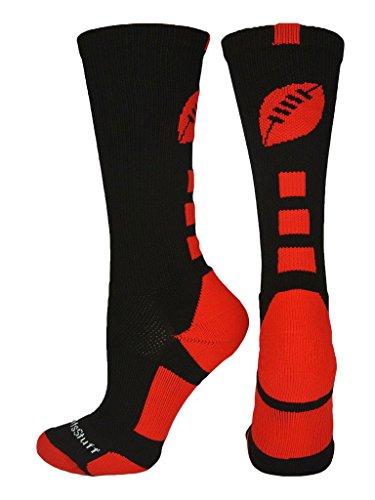 MadSportsStuff Football Logo Crew Socks (Black/Scarlet, Medium) -