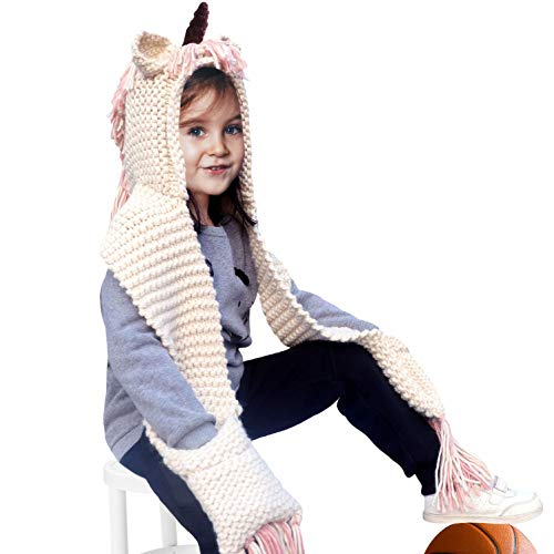 Kids Cartoon Unicorn Winter Hats with Scarf Gloves Hood Knitted Cap Beanie Photography