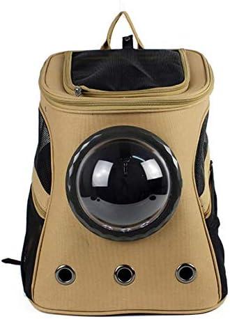 JIANYI ペットキャリアバックパック大容量ペットバックパックスペースペットキャビンキャットショルダーポータブルお出かけパッケージ (色 : カーキ, サイズ : 38*29*45cm)