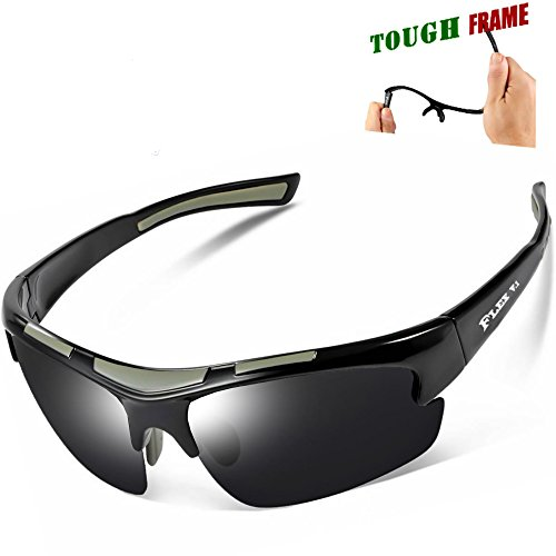 FLEX – Polarized Sports Sunglasses for Men or Women, Ultra Tough TR90 Frame and 100% UV protection lens, Sunglasses for Driving Ski Cycling Fishing Running Baseball Golf Biking and other Outdoor Activities. (black)
