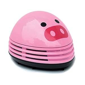 Dust Cleaner, gloednApple Mini Desktop Vacuum Desk Dust Cleaner Keyboard Cleaning Dust Vacuum for Home Office Christmas Birthday Gifts (Pink Pig)