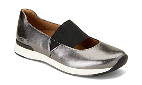 Vionic Women's Cosmic Cadee Mary Jane - Ladies Casual Walking Shoes with Concealed Orthotic Arch Support Pewter 5 M US (Best Looking Walking Shoes For Women)