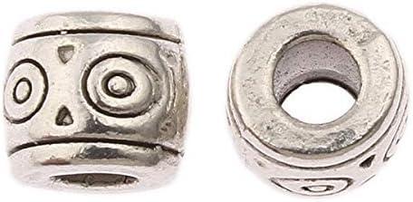 Perlin 40 Unidades de Perlas de Metal Entre Perlas, 6 mm, Tubo con Agujero Grande de 1,5/2 mm para Banda de Piel, Joyas, Manualidades, Piezas intermedias
