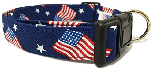 Adjustable Dog Collar in Blue with American Flags (U.S.A. Made)
