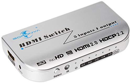 5 Port HDMI Switch, Goronya 5x1 Auto Switch with IR Wireles