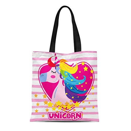 - Semtomn Canvas Tote Bag Shoulder Bags Pink Animal Unicorn Girl Rainbow Hair Wearing Ribbon Women's Handle Shoulder Tote Shopper Handbag