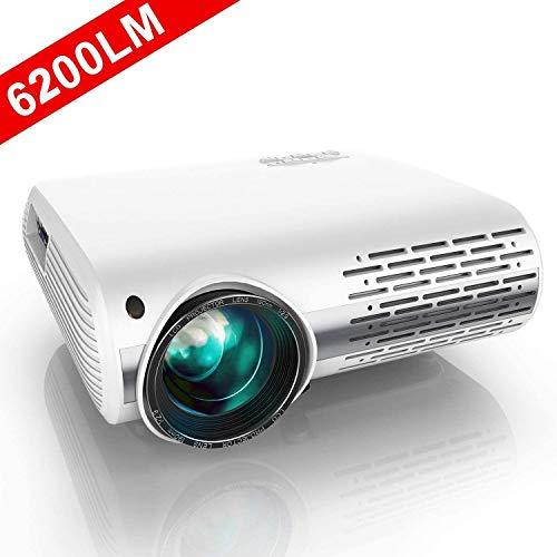 Proyector, YABER Proyector Full HD 1080P 6200 Lumenes Proyector Cine en Casa con Regulacion Trapezoidal 4D, con Dos Altavoces Estereo Alta Fidelidad y Sistema de Refrigeracion de Tres Ventiladores