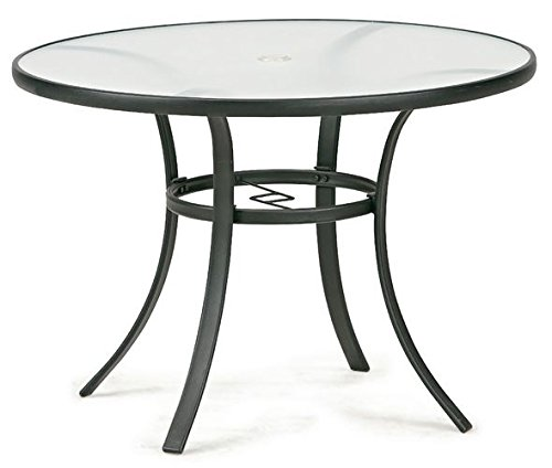 Essential garden bartlett round dining table seats 4 for Glass top outdoor dining table