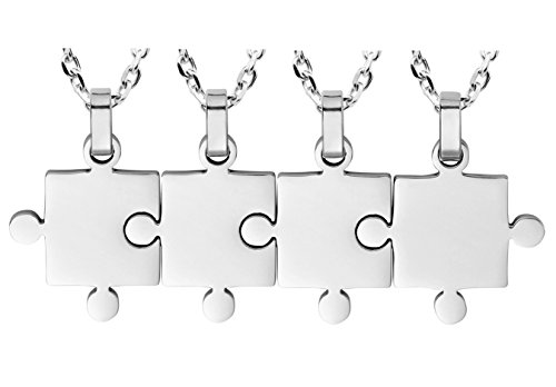 Kebaner Best Friend Forever and Ever BFF Friendship Gifts Set of 4 Piece Puzzle Matching Pendant (Puzzle Piece Necklace Set)