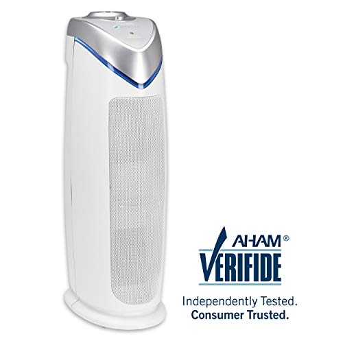 Germ Guardian True HEPA Filter Air Purifier for Home, Office, Bedrooms, Filters Allergies, Pollen, Smoke, Dust, Pet Dander, UV-C Sanitizer Eliminates Germs, Mold, Odors, Quiet 22 inch 3-in-1 AC4825W (Best Portable Air Purifier 2019)