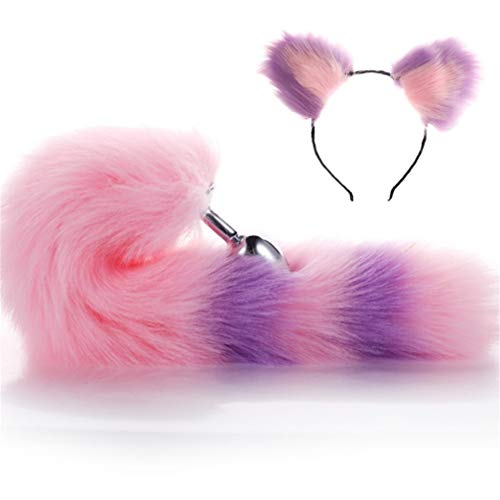 Make life wonderful Purple & Pink Color Interval Three Sizes Fluffy Faux Fox Tail & Cat Ears Headband Charms Role Play Costume Party Cosplay Prop (L)