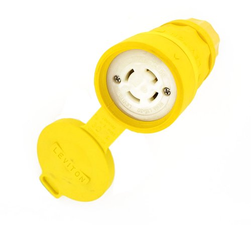 Leviton 29W75 30-Amp, 250-Volt- 3PY, Industrial Grade, Locking Connector, Grounding, Wetguard, Yellow (Wetguard Connector)