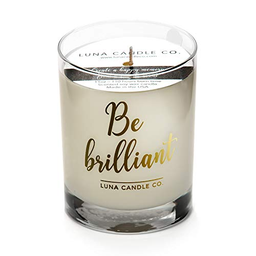 (LUNA CANDLE CO. Strong Scented Lemon Jar Candle, Natural Soy Wax, 11oz. Glass, Up to 110 Hours of Burn Time, Tart Sugary Sweet Scent, Perfect for Springtime- Be Brilliant)