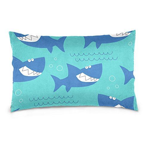 Cooper girl Cute Sharks Mouth Pillow Case Sofa Bed Throw Pillow Cover Cotton Zipper 20x26 Inch
