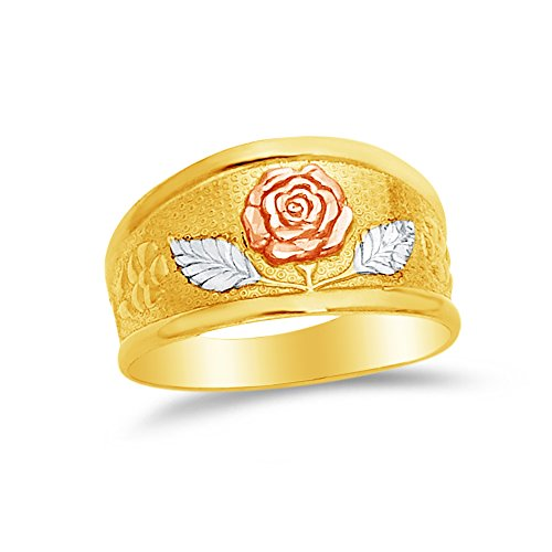- Size - 6.5 - Jewel Tie Solid 14k Rose Yellow & White Gold Fancy Fashion Flower Wide Tapered Ring Band
