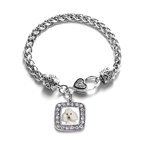 Inspired Silver - I Love My Poodle Braided Bracelet for Women - Silver Square Charm Bracelet with Cubic Zirconia Jewelry