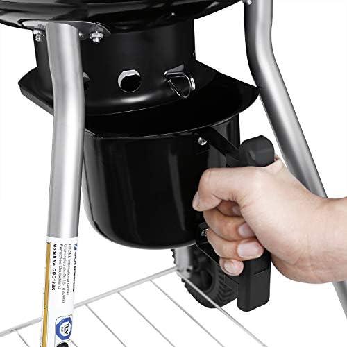 SONGMICS Gril à charbon de bois, en Acier émaillé, avec Thermomètre sur le couvercle et Poignée résistante à la chaleur, Barbecue boule, Grille pliable et Plateforme de rangement GBQ18BKV1