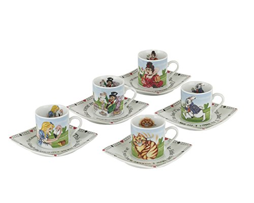 Cardew Design Alice in Wonderland Porcelain 3-Ounce Tea Party Cup and Saucer Set, Service for (Movie Premiere Party Ideas)