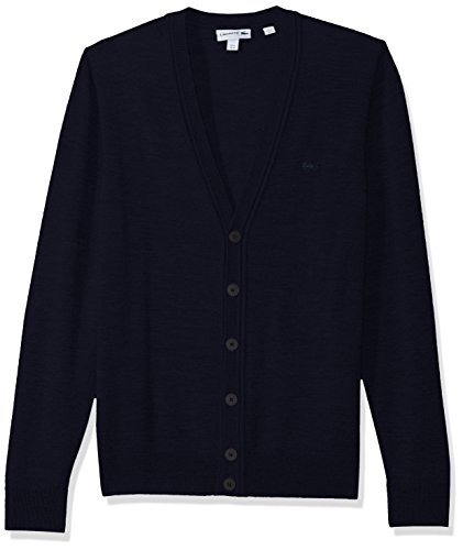 Lacoste Men's Classic 100% Lambswool Cardigan Sweater with Tonal Croc, Navy Blue, X-Large ()